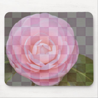 Checkered Floral Pink Camellia Mouse Pad