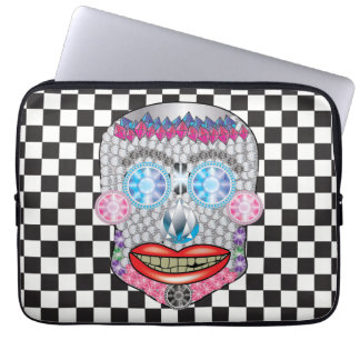 Checkered Gemma Candy Skull Laptop Sleeve