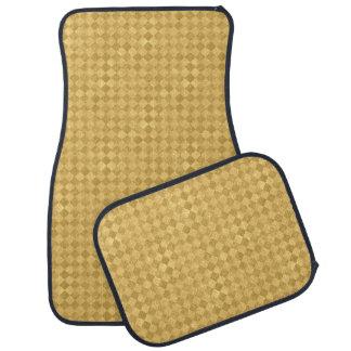 Checkered Golden Grunge Car Mat Full Set