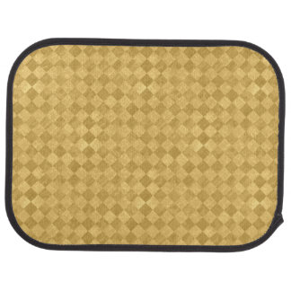 Checkered Golden Grunge Rear Car Mat