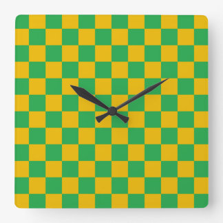 Checkered Green and Gold Square Wall Clock