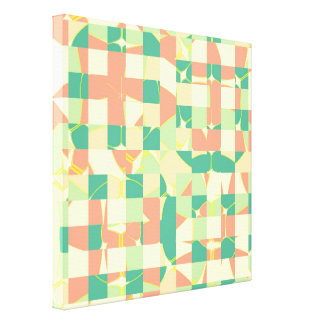 Checkered green and salmon canvas print