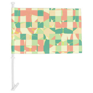 Checkered green and salmon car flag