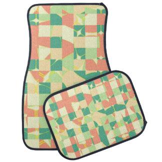 Checkered green and salmon car mat