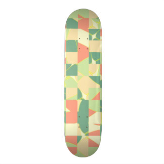 Checkered green and salmon custom skateboard