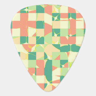 Checkered green and salmon guitar pick