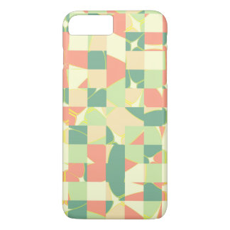 Checkered green and salmon iPhone 7 plus case