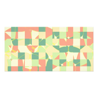 Checkered green and salmon photo card