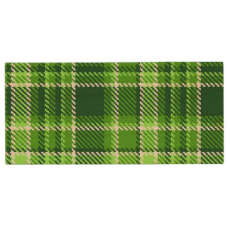 Checkered Green Color Pattern Wood USB 2.0 Flash Drive