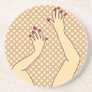 Checkered Hands Drink Coaster