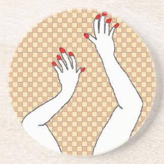 Checkered Hands Sandstone Coaster