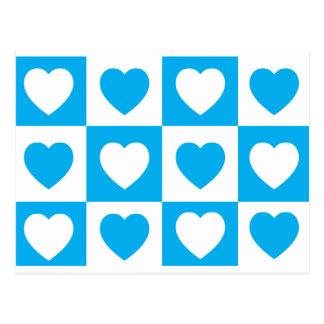 Checkered Hearts - Cyan Blue Postcard