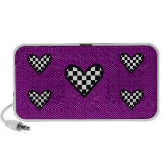 Checkered Hearts on Pink speaker