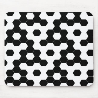 Checkered hexagons mouse pad