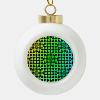 Checkered Illusion by Kenneth Yoncich Ceramic Ball Decoration
