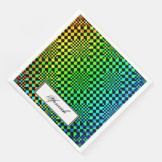 Checkered Illusion by Kenneth Yoncich Disposable Napkins