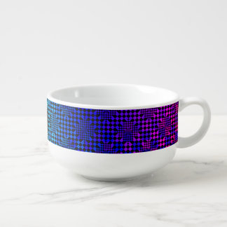 Checkered Illusion by Kenneth Yoncich Soup Bowl With Handle