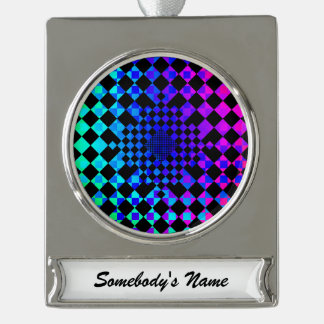 Checkered Illusion Silver Plated Banner Ornament