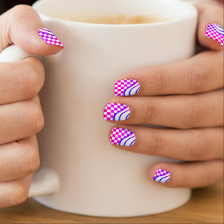 Checkered Kawaii Check Bright Pink Wave Minx Nail Art
