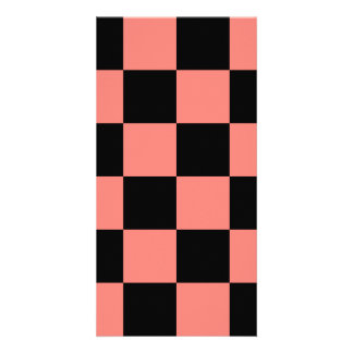 Checkered Large - Black and Coral Pink Personalized Photo Card
