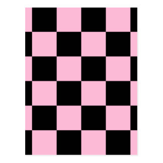 Checkered Large - Black and Cotton Candy Postcard