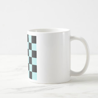 Checkered Large - Black and Pale Blue Coffee Mugs
