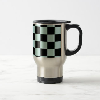 Checkered Large - Black and Pale Blue Coffee Mug