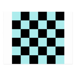Checkered Large - Black and Pale Blue Postcard