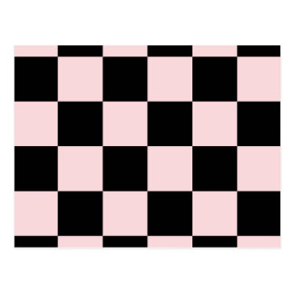 Checkered Large - Black and Pale Pink Postcard