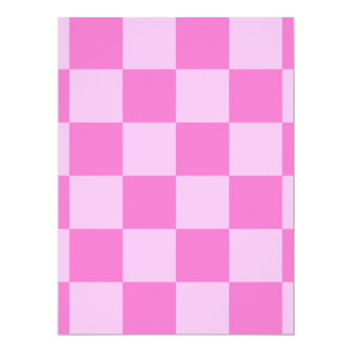 Checkered Large - Pink and Dark Pink 17 Cm X 22 Cm Invitation Card