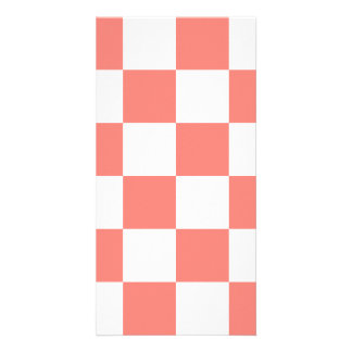 Checkered Large - White and Coral Pink Photo Card Template