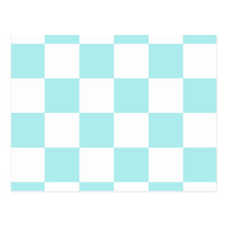 Checkered Large - White and Pale Blue Postcard