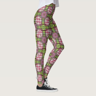 Checkered Leggings Plaid Pink Green