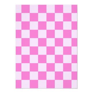 Checkered - Light Pink and Dark Pink 14 Cm X 19 Cm Invitation Card