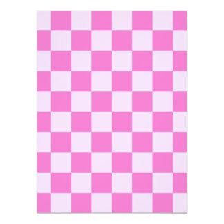 Checkered - Light Pink and Dark Pink 17 Cm X 22 Cm Invitation Card
