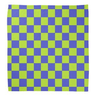 Checkered Lime Green and Blue Bandana