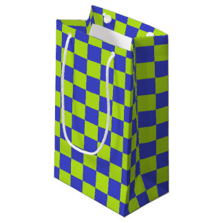 Checkered Lime Green and Blue Small Gift Bag