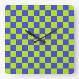 Checkered Lime Green and Blue Square Wall Clock