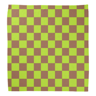 Checkered Lime Green and Brown Bandana