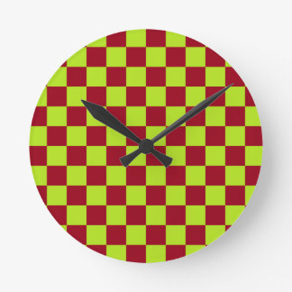 Checkered Lime Green and Burgundy Round Clock