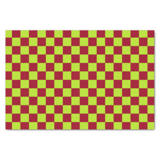 Checkered  Lime Green and Burgundy Tissue Paper