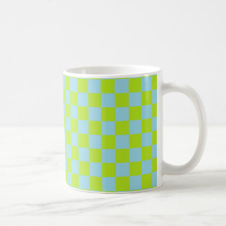 Checkered Lime Green and Pastel Blue Coffee Mug