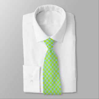 Checkered Lime Green and Pastel Blue Tie