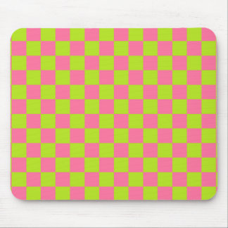 Checkered Lime Green and Pink Mouse Pad