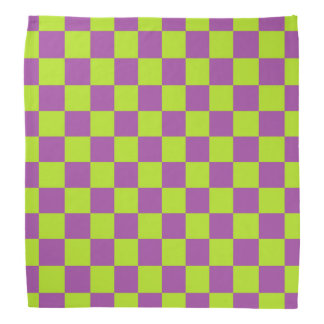 Checkered Lime Green and Purple Bandana