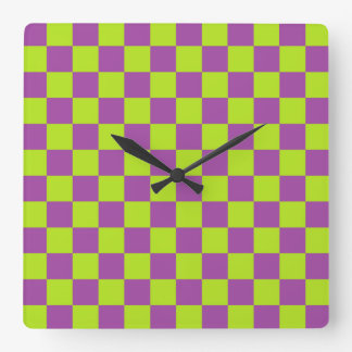 Checkered Lime Green and Purple Square Wall Clock