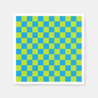 Checkered Lime Green and Turquoise Disposable Serviette