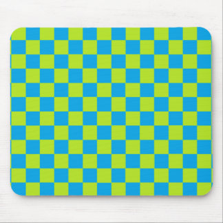 Checkered Lime Green and Turquoise Mouse Pad