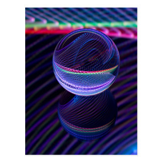 Checkered lines in the glass ball postcard