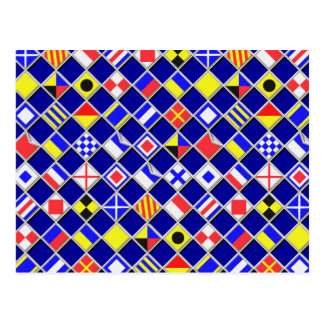 Checkered Nautical Signal Flags Decor Postcard